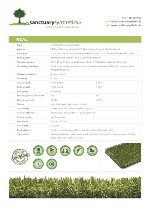 Sanctuary REAL artificial grass specs