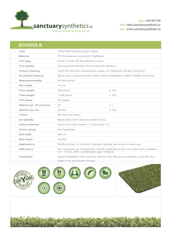 Sanctuary Schools Artificial Play Grass Spec Sheet