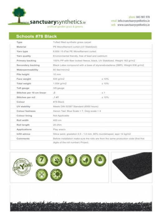 Schools Coloured Artificial Grass Spec Sheet Black