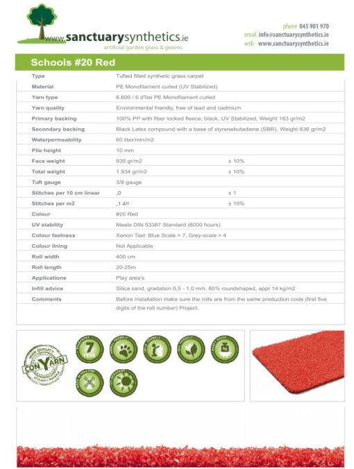 Schools Coloured Artificial Grass Spec Sheet Red