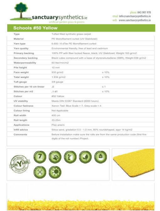 Schools Coloured Artificial Grass Spec Sheet Yellow
