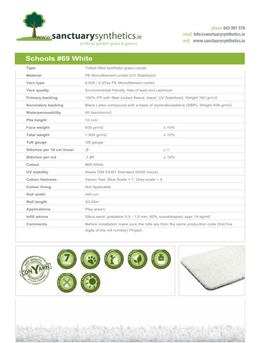 Schools Coloured Artificial Grass Spec Sheet White