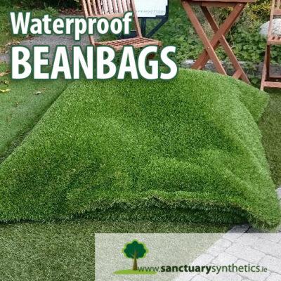 Artificial grass bean bags