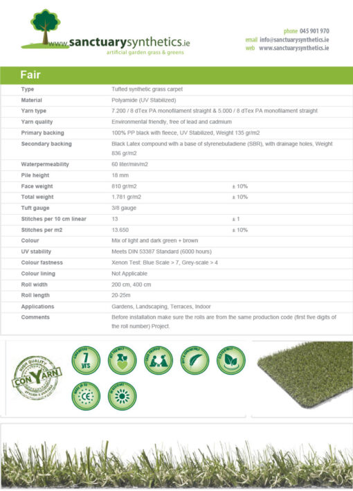 Sanctuary FAIR - indoor fire resistant grass SPEC SHEET