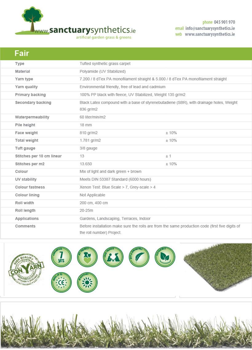 Sanctuary FAIR - indoor fire resistant grass SPEC SHEET