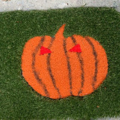 Pumpkin artificial grass doormat