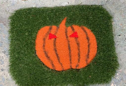 Pumpkin artificial grass doormat