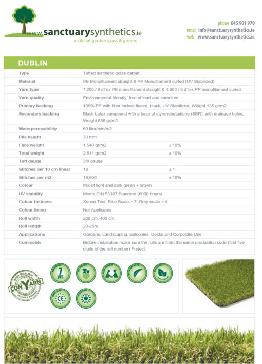 Sanctuary DUBLIN grass spec sheet